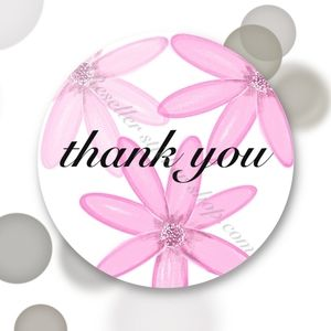 150 Thank You Stickers Pink Flower Daisy 🌸